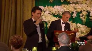 U.S. President Barack Obama toasts Prime Minister Justin Trudeau during state dinner