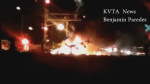 Cell phone captures flames from derailed commuter train in southern California
