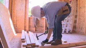 Mayor Bowman helps Habitat build