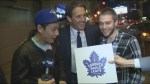 Fresh off winning the draft lottery, Brendan Shanahan photobombs Global interview
