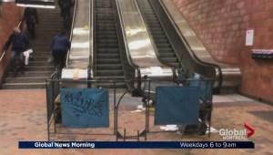 Broken escalators restricting accessibility at Du College metro station