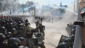 Protesters and police clash outside Ukrainian Parliament in Kyiv