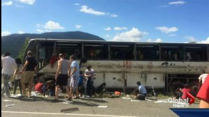 A tour bus crashes in BC