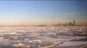 Staten Island ferry plows through large ice flows on frozen Hudson river