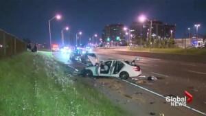 Car smashes into light pole