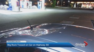 Concrete thrown off overpass onto man's car