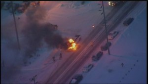 Truck on fire during morning commute in Winnipeg