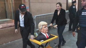 Donald Trump cake wheeled through New York City en route to election party