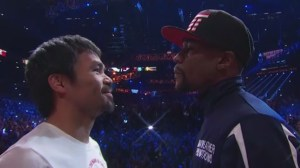 Floyd Mayweather and Manny Pacquiao weigh-in