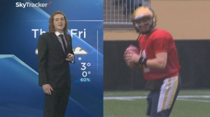 University of Manitoba's quarterback and Global's Mike Koncan trade places
