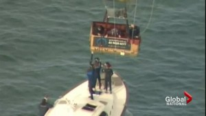 Boat comes to rescue of hot air balloon in distress