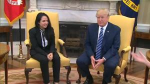 President Trump hosts Aya Hijazi in the Oval Office