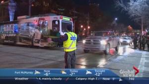 C-Trains hit pedestrian, platform and truck