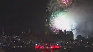 Fireworks light up night sky over Parliament Hill on Canada Day