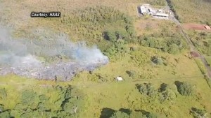 Aerial footage of  Lava stream threatens homes in Hawaii