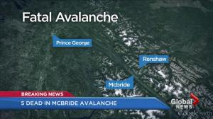 Five killed in avalanche near McBride, B.C.