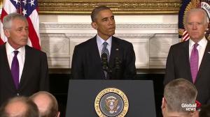 President Obama praises Chuck Hagel's service