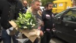 French motorcyclists leave flowers for Paris victims