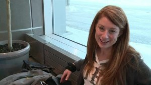 Traveler waiting for next flight at Halifax airport after flights were canceled