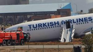 Turkish Airlines jet skids off runway