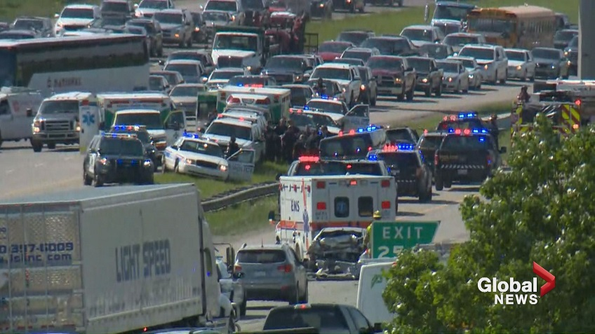 Three first responders injured after responding to crash on Deerfoot Trail