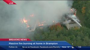 Massive fire burning abandoned Brampton mansion to the ground