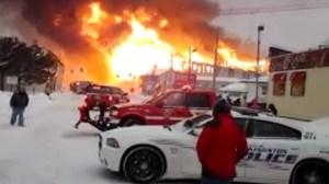 Raw video: Massive fire in Kingston