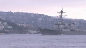Raw video: US destroyer passes through the Bosphorus strait