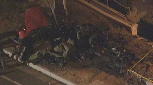 Aerial view from scene of crash that killed Paul Walker