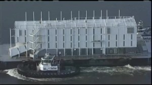 Mysterious Google barge arrives in new port