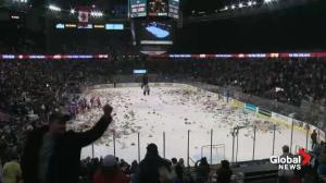 Raw video: Oil Kings Teddy Bear Toss