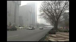 Footage of heavy air pollution lingering in China