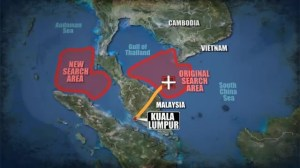 Malaysian military change focus of search for jet to new area