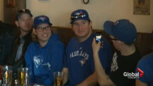 Blue Jays fans celebrate the beginning of the 2014 season
