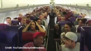 "Lion King cast perform ""Circle of Life"" in-flight"