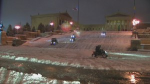 "ATVs hit the snow on ""Rocky Steps"" in Philadelphia"