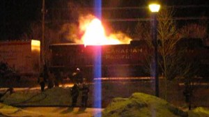 Engine of train transporting crude oil catches fire
