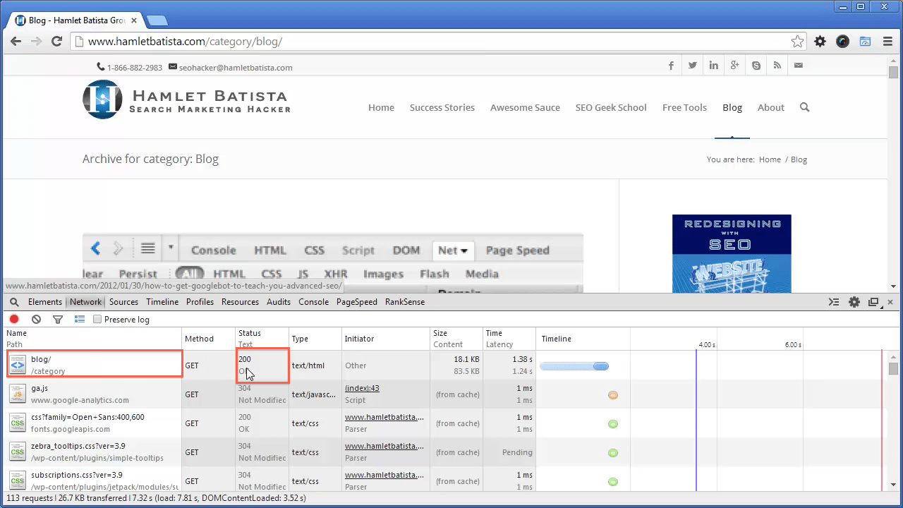 Redirect WWW to Non-WWW on Apache Step 5 - Notice HTTP Response