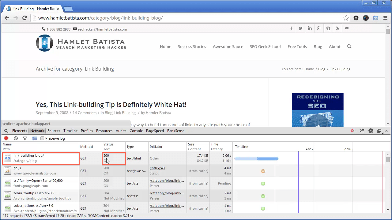 Redirect WWW to Non-WWW on Apache Step 8 - Notice HTTP Response