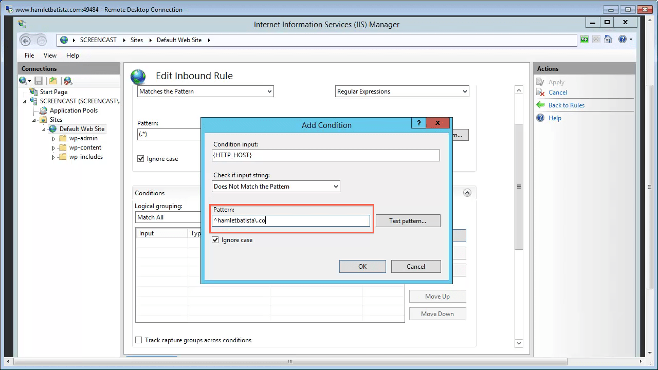 Redirect WWW to Non-WWW on IIS Step 22 - Enter The Pattern