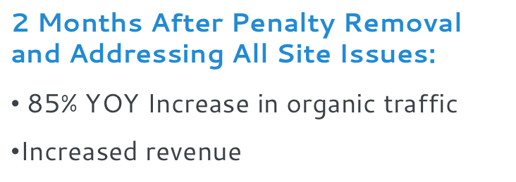 2 months after penalty removal and addressing all site issues