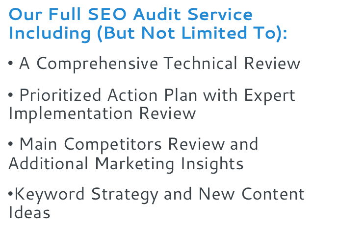 Our Full SEO Audit Service Including But Not Limited To