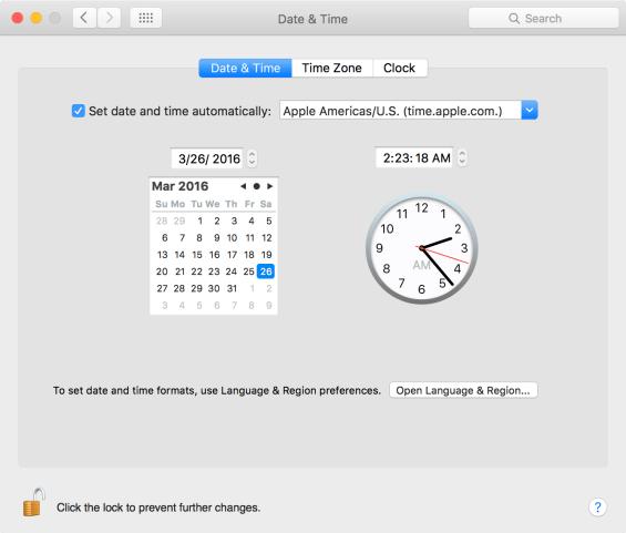 Kiểm tra ngày và giờ trên máy Mac