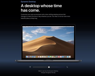 macOS Mojave sports a time-shifting wallpaper that changes through the day