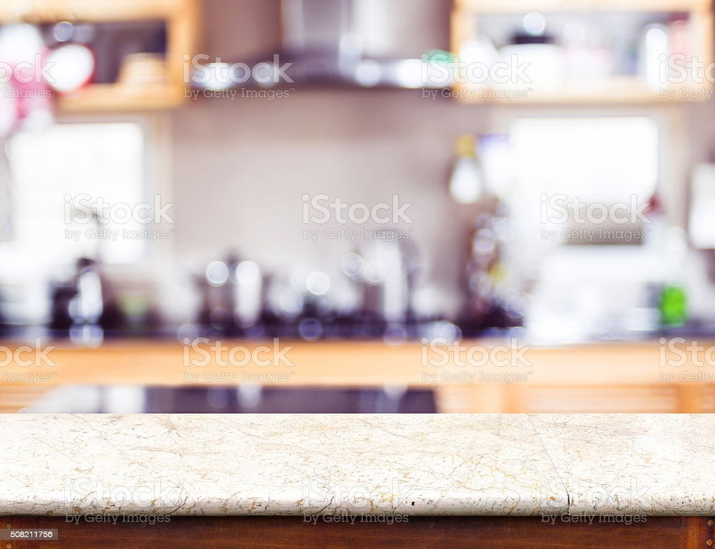 empty marble table top and blurred kitchen bokeh light picture id508211756