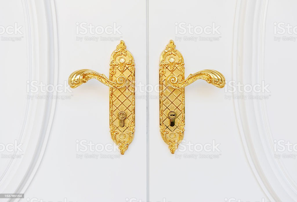 O Fancy Gold Door Handles On A House Royaltyfree Stock Photo
