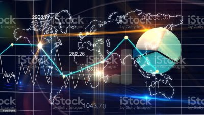 World Map Statistic Data Graph Dark Blue Finance Background 3d Stock Photo & More Pictures of ...