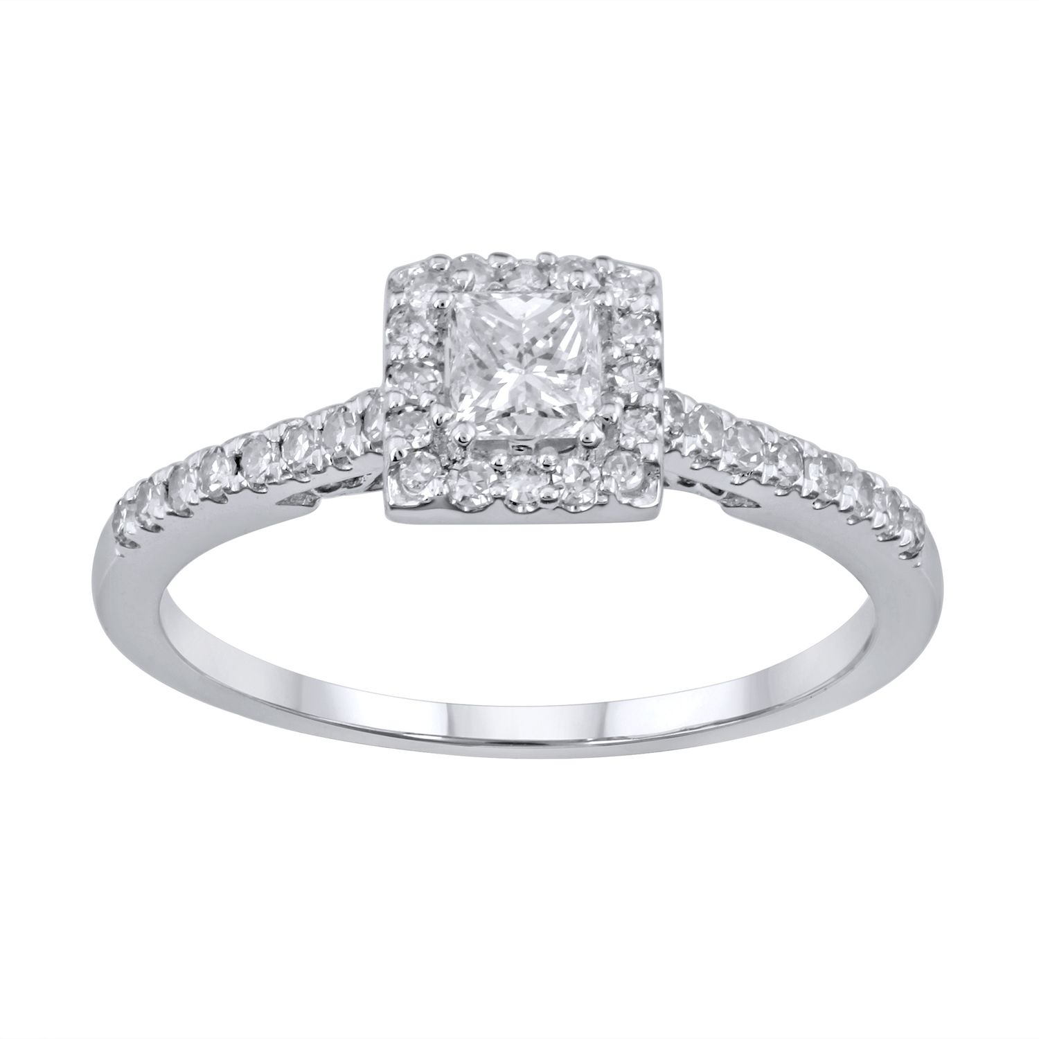 simply vera vera wang diamond halo engagement ring in 14k white gold 12 ct tw vera wang wedding bands Simply Vera Vera Wang Diamond Halo Engagement Ring in 14k White Gold 1 2 ct T W