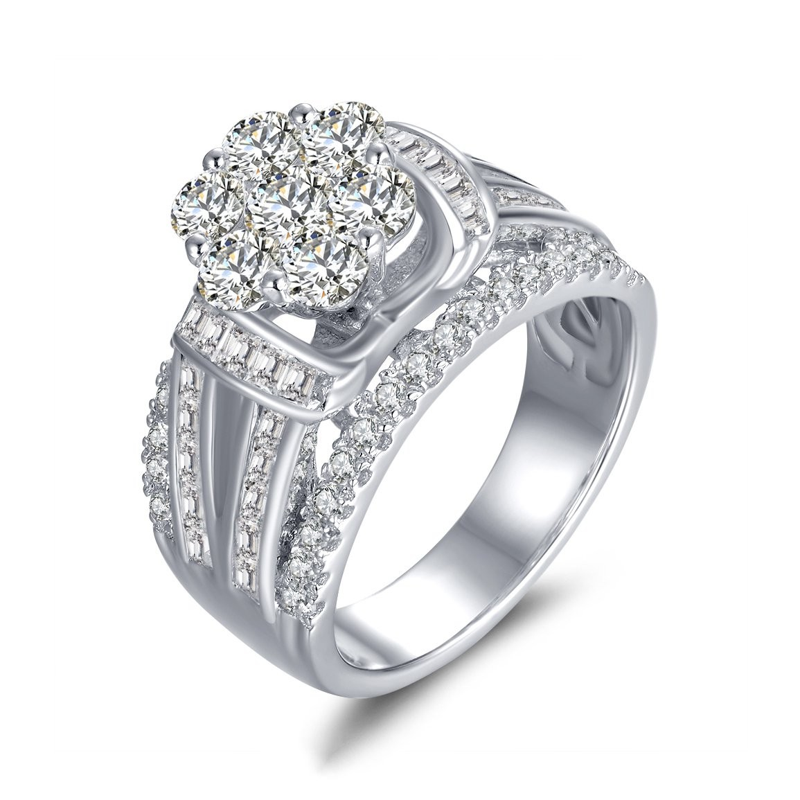 Examplary Women Make Payments Round Cut Flower Sapphire Silver Engagement Engagement Buy Cheap Engagement Rings Online Lajerrio Jewelry Diamond Rings Women Jared Diamond Rings wedding rings Diamond Rings For Women