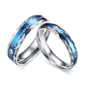 Christmas Lajerrio Jewelry Blue Forever Love Titanium Steel Round Cut Gemstone Promise Ring For Blue Forever Love Titanium Steel Round Cut Gemstone Promise Ring